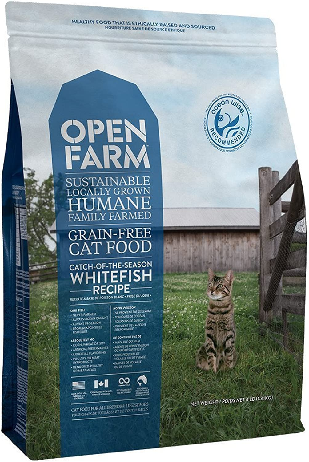 Open Farm OF12322 CatchOfTheSeason Whitefish Recipe Organic Sustainable Cat Food, 4 lbs, One Size