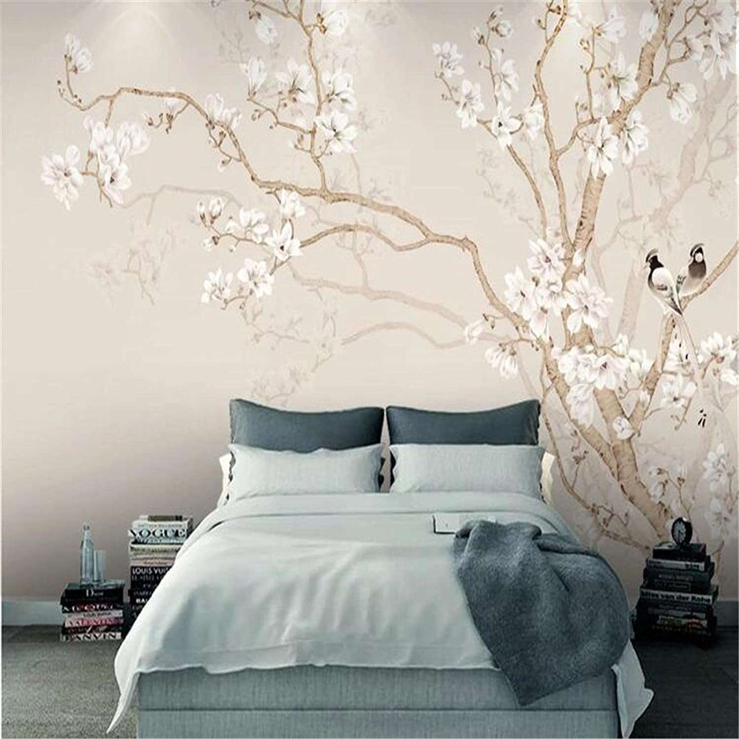 HGFHGD Magnolia Hand-Painted Flowers Minneapolis Mall and Room Mu Living 3D Birds Seattle Mall