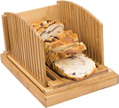 Toughard Bamboo Compact Foldable Bread Slicer Cutting Guide with Crumb Catcher Tray for Homemade Bread, Loaf Cakes & Bagels, 3 Thickness Slices Adjustable (New Version)