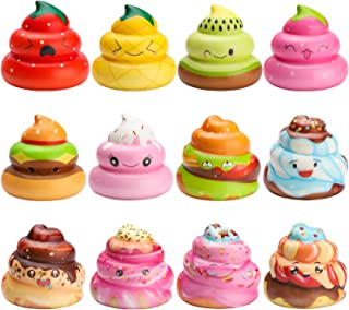 WATINC Random 12 Pcs Kawaii Soft Poo Squishy Cream Scented Stress Relif Toy, Decorative Props Gift Hand Toy for Kids