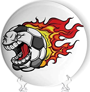 YOLIYANA Sports Decor Porcelain Plates Ceramic Decorative Plates,Cartoon Image of a Flaming Soccer Ball with Aggressive Angry Mean Face,8 Inch