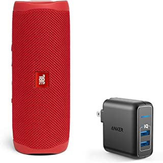 JBL Flip 5 Waterproof Portable Wireless Bluetooth Speaker Bundle with 2-Port USB Wall Charger - Red