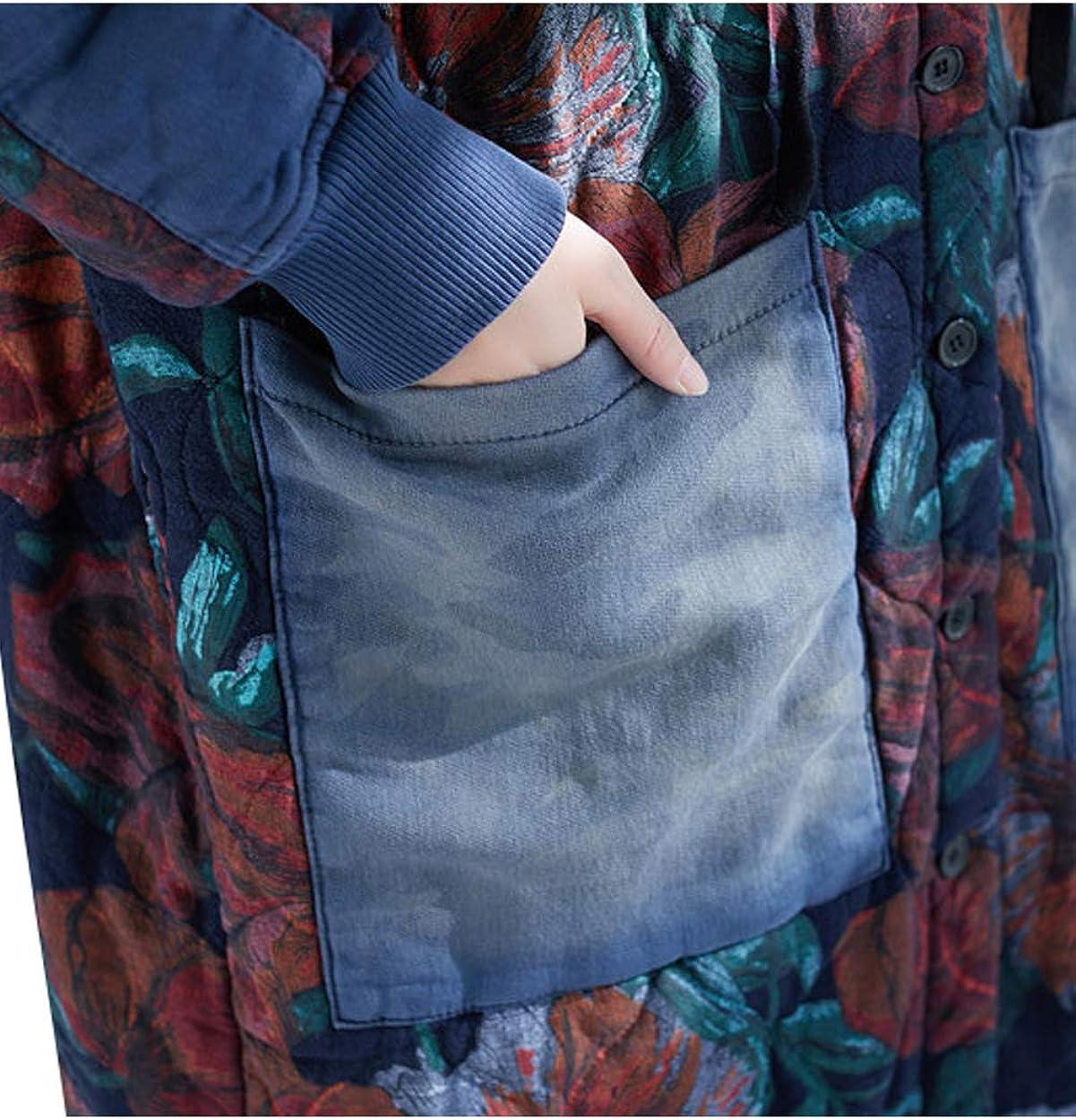 Bigassets Damen Gedruckt Mantel mit Kapuze Dick Warm Winter Jacken Einreiher Mäntel Stil 2 Dunkelblau