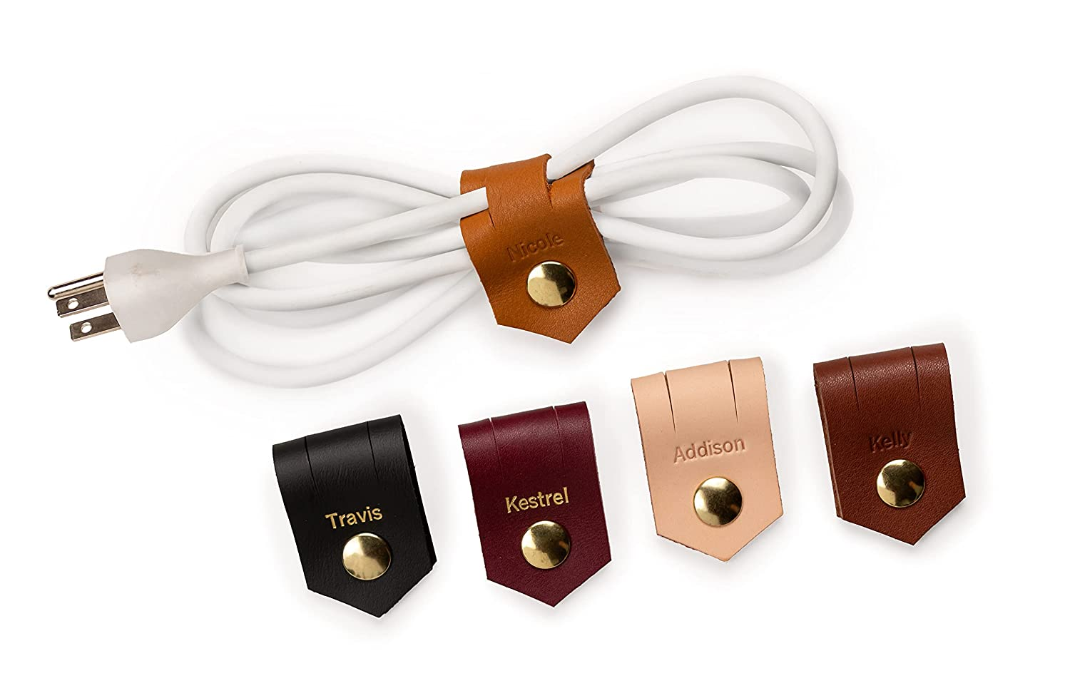 online shop KEYAIIRA - Large Personalized Leather Cable Sna Holder discount Gold with