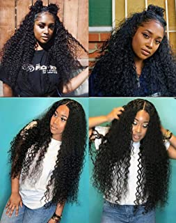 360 Lace Frontal Curly Human Hair Wigs 150% Density Brazilian Deep Curly Wig with Baby for Black Women 20 inch, Natural Color