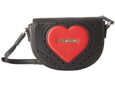 LOVE Moschino Perforated Crossbody (Black) Handbags