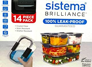 New Sistema Brilliance Leakproof Food Storage Container Lunchbox 14pc