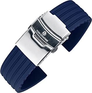 【TON CHARME】トンチャーメー 腕時計用ベルト シリコーン 時計バンド ソリッドステンレス鋼の展開バックル 防水柔らか 18mm/20mm/22mm (20mm, ネイビー)
