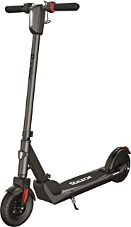 "Razor E Prime III Electric Scooter – 18 MPH, 15 Mile Range, 8"" Pneumatic Front Tire, Foldable, Portable & Extremely Lightweight, Rear Wheel Drive, for Travel and Commuting, Dark Grey"