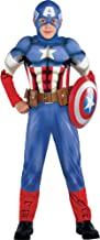 Costumes USA Captain America Muscle Costume Classic for Boys, Size Large, Includes a Padded Jumpsuit and a Mask