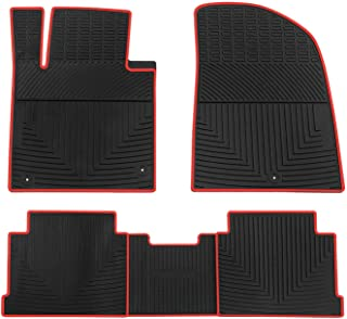 biosp Car Floor Mats for Hyundai Sonata 2015 2016 2017 2018 2019 Front and Rear Heavy Duty Rubber Liner Set Black Red Vehicle Carpet Custom Fit-All Weather Guard Odorless