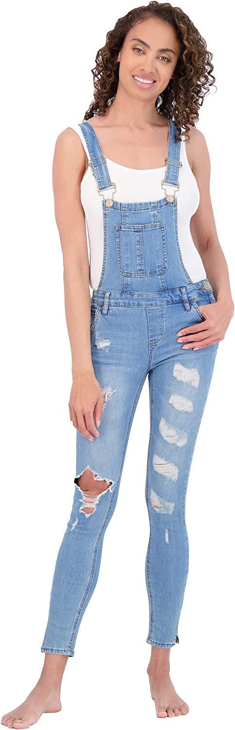 dollhouse Women's Dealing full Award-winning store price reduction Distressed Vintage Adjusta Overalls Denim with