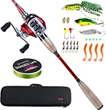 Sougayilang Fishing Baitcasting Combos, Lightweight Carbon Fiber Fishing Pole and 11+1BB Corrosion Resistant Bearings Fishing Reel-Right Left Hand for Travel 4-Section Saltwater Freshwater