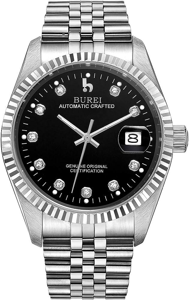 Burei orologio automatico da uomo con cinturino in acciaio inossidabile con vetro zaffiro BM-5003