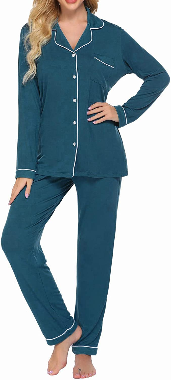 Ekouaer Pajamas Set Long Sleeve 低廉 Down Button 正規激安 Womens Nig Sleepwear