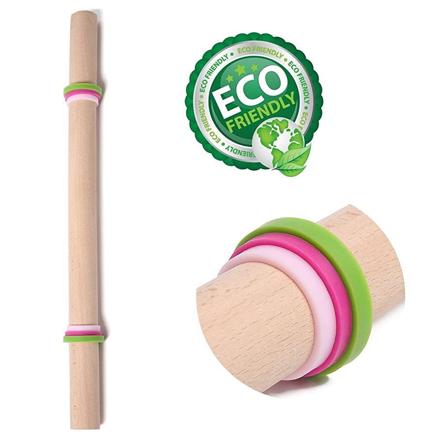 Donxote Hand Crafted Design Rolling Pin Wood Perfect for Baking Dough Pizza Pie Cookies Rolling Pins 15 Inches