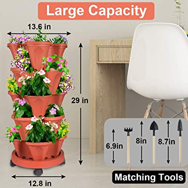 Stackable Planter, 5 Tier Vertical Garden Planter with Movable Wheels and Planters Tools, Tower Garden Planters for Vegetable