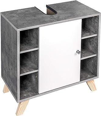 eSituro Mueble Bajo Lavabo Armario de Suelo para Baño Mueble de Baño Organizador Estante de Baño Armario de Almacenamiento, M