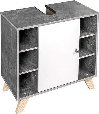 eSituro Mueble Bajo Lavabo Armario de Suelo para Baño Mueble de Baño Organizador Estante de Baño Armario de Almacenamiento, MDF Gris Marmolado+Blanco SBP0049: Amazon.es: Hogar