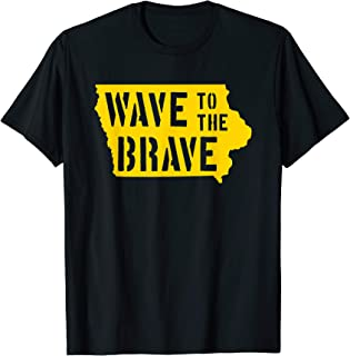 Iowa Wave to the Brave Stencil Letter Black Gold Beat Cancer T-Shirt
