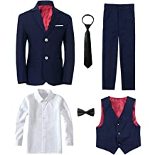 e005d00fee5 Yanlu Boy  39 s Tuxedos Toddler Formal Suits Set Kids Blue Black Slim Fit