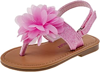 Laura Ashley Girls Glitter Sandal with Flower (Infant, Toddler)