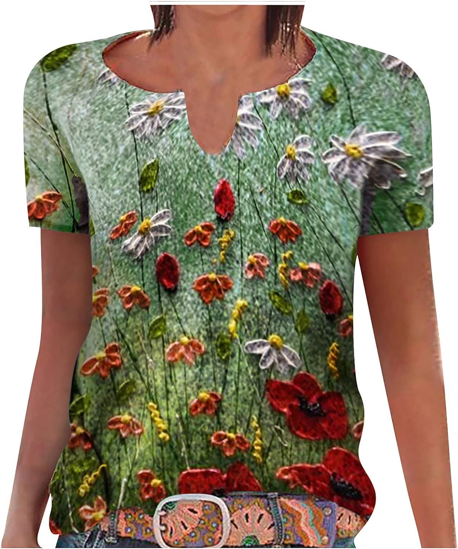 Mimacoo Retro Floral Print Shirt Crew Neck Tops Short Sleeve Tee Fashion Soft Blouse Fashion Soft Tshirt