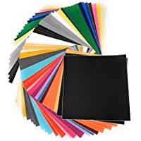 55 Pack Premium Permanent Self Adhesive Backed Vinyl Sheets for Cricut, Silhouette Cameo, Other Cutters & Decals (Glossy, Matte, Brushed)
