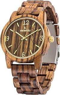 Men's Wooden Watch,Sentai Handmade Vintage Quartz Watches, Natural Wood Wrist Watch
