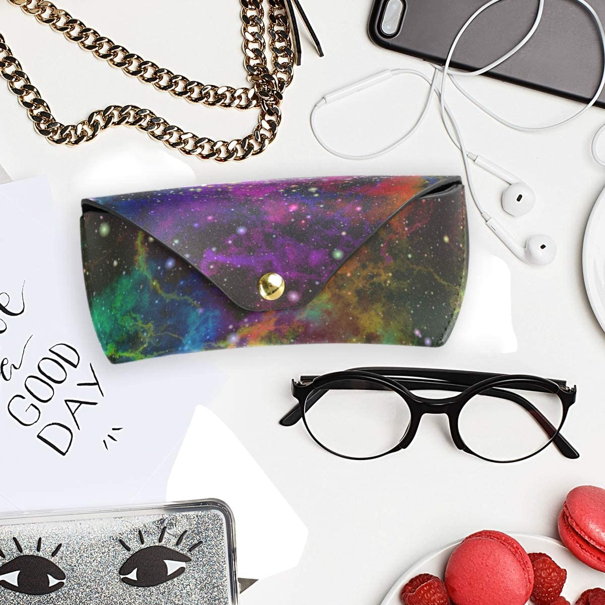 Portable Multiuse Sunglasses Case Eyeglasses Pouch School Colorful Nebula Starry Sky Space Eye Universe PU Leather Goggles Bag