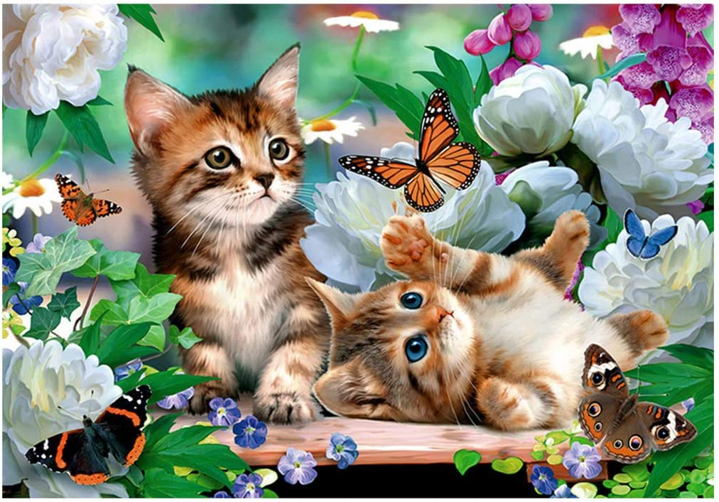 RUIOU Cute Cats Diamond Painting Kits for Adults with Tools Cats Full Drill Round Crystal Dotz Flower 5D DIY Diamond Art Painting Kits Paint by Number with Art Home Wall Decor 12x16 inch