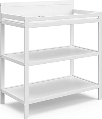 Storkcraft Alpine Changing Table (White) - Includes Water Resistant Changing Pad with Safety Strap, 2 Open Shelves for Storage