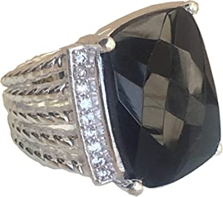 Designer Inspired Twisted Cable 20x15mm Black Onyx Ring with Simulated Diamonds