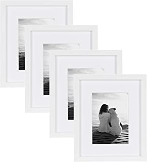 DesignOvation Gallery Wood Photo Frame Set for Customizable Wall Display, Pack of 4, 8x10 matted to 5x7, White