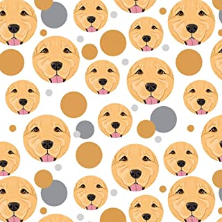 Premium Gift Wrap Wrapping Paper Roll Pattern - Dog Puppy - Golden Retriever Face