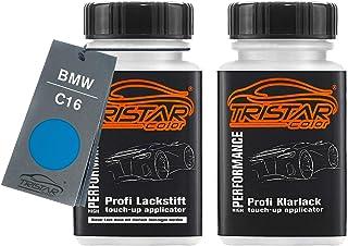 TRISTARcolor Autolack Lackstift Set für BMW C16 Long Beach Blue Metallic Basislack Klarlack je 50ml