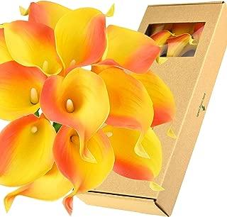 FiveSeasonStuff Real Touch Calla Lilies Artificial Flowers Wedding Bridal Bouquet Home Décor Party  Floral Arrangments   15 Stems (Sunset Orange)
