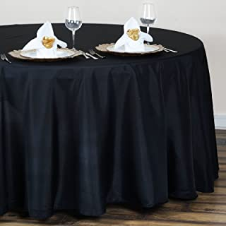 BalsaCircle 6 pcs 120 inch Black Round Table Cloth Fabric Table Cover Linens for Wedding Tablecloths Polyester Reception Banquet Events Kitchen Dining