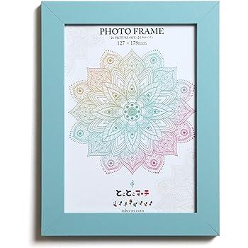 ピュアブルー 2L判サイズ 発色の良いカラーフレーム 写真立て 写真フレーム 壁掛け フォトフレーム 木製 額縁 写真入れ ガラス使用