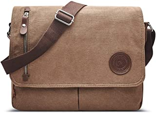 MOLLYGAN Men's Casual Canvas Schoolbag Crossbody Shoulder Messenger Bag (Model A-Coffee)