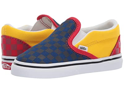 Vans Kids Classic Slip-On (Infant/Toddler) ((OTW Rally) Navy/Yellow/Red) Boys Shoes
