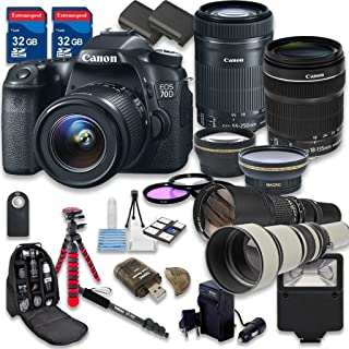 Canon EOS 70D 20.2 MP AF Full HD 1080p DSLR Camera with Canon EF-S 18-135mm f/3.5-5.6 IS STM Lens + Canon EF-S 55-250mm f/4-5.6 IS STM Lens - International Version (No Warranty)