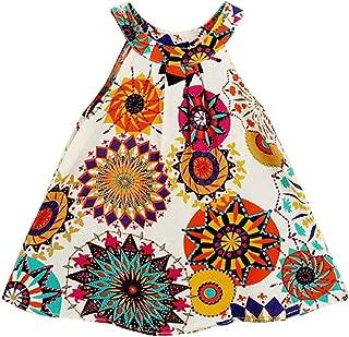 Baby Girl Clothes Bohemian Short Sleeveless Flower Princess Floral Dress A-line Formal Kids Summer Dress Skirt