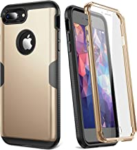 YOUMAKER Case for iPhone 8 Plus & iPhone 7 Plus, Full Body Rugged with Built-in Screen Protector Heavy Duty Protection Slim Fit Shockproof Cover for Apple iPhone 8 Plus (2017) 5.5 Inch - Gold