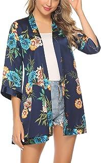 Hawiton Mujer Cárdigan Kimono Florales Manga 3/4 Gasa Boho Blusa Playa Encubrir Chaqueta Fina Casual
