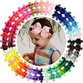 "Baby Girls Headbands 40Pcs 4.5"" Boutique Grosgrain Ribbon Hair Bow Headbands for Baby Girls Infants Toddler Newborns and Kids"
