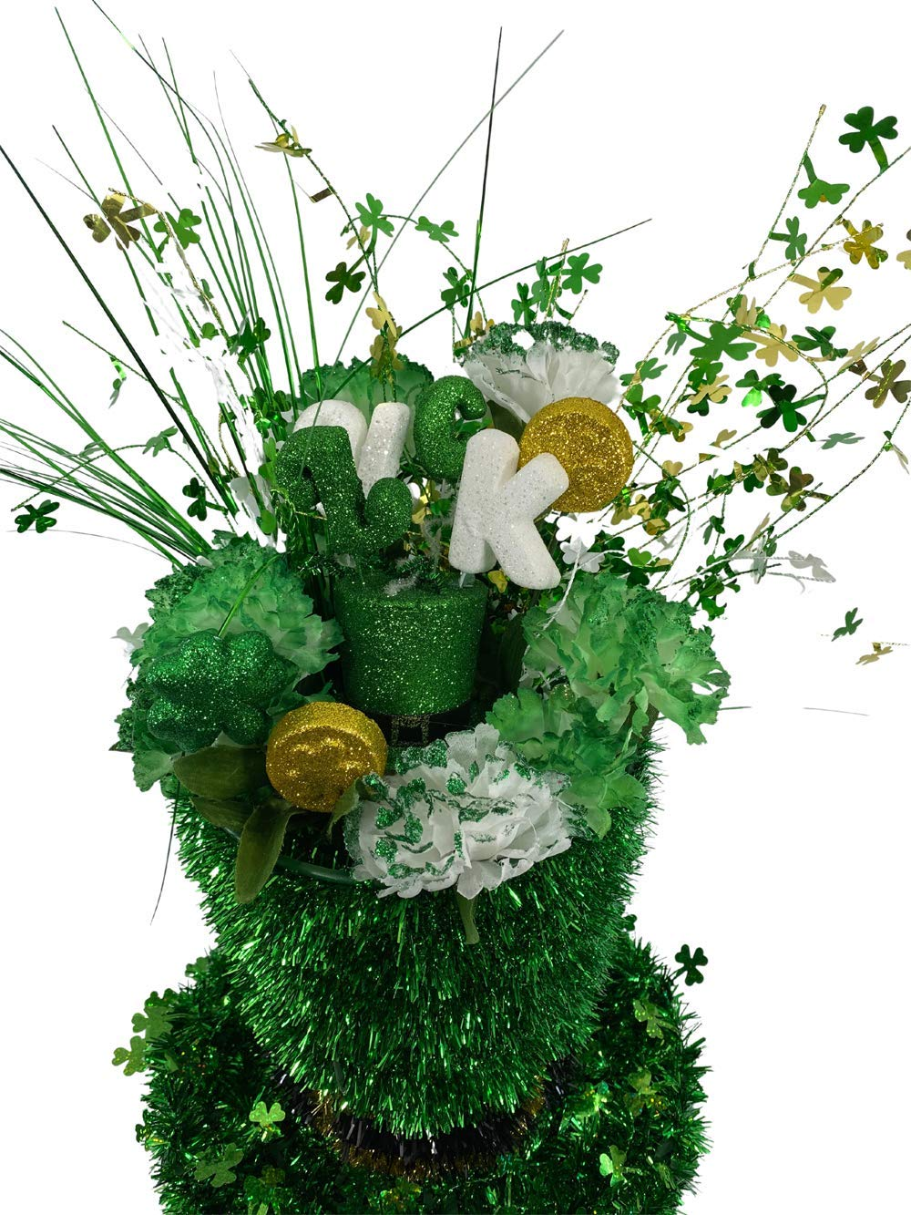 AGD St Patrick's Decor - 67% OFF High order of fixed price Large Tinsel Tophat Centerpiece Green