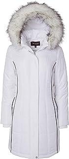 Sportoli Women's Down Alternative Long Belted Puffer Coat Fur Trim Detachable Hood
