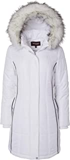 Sportoli Women's Down Alternative Long Belted Puffer Coat Fur Trim Detachable Hood