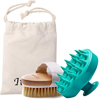 Shampoo Brush Bath Brush Kit Pack 2 of Hair Brush Silicon Scalp Massager and Dry Skin Body Brush Exfoliate Improve Blood Circulation for Daily Use or Gift